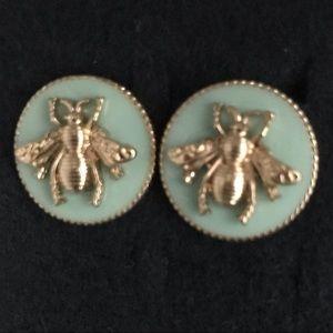 Mint Enamel Bee Earrings
